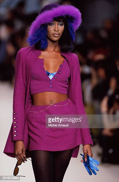 Supermodel Naomi Campbell Modeling Chanel Skirt and Sweater Set