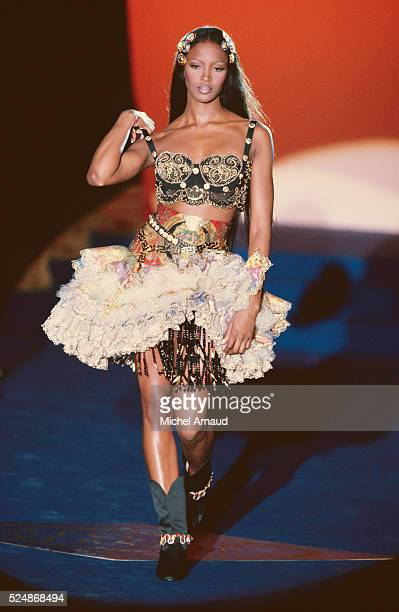 Supermodel Naomi Campbell Modeling Versace Dress