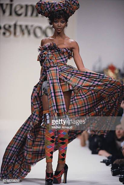 Supermodel Naomi Campbell Modeling Westwood Dress