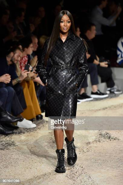 Supermodel Naomi Campbell walks the runway at the Louis Vuitton Autumn Winter 2018 fashion show during Paris Menswear Fashion Week on January 18 2018...