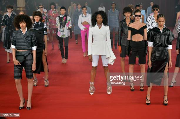 Supermodel Naomi Campbell walks the runway at the Offwhite Spring Summer 2018 fashion show during Paris Fashion Week on September 28 2017 in Paris...