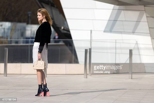Supermodel Natalia Vodianova enters the Louis Vuitton show at Fondation Louis Vuitton on Day 9 of Paris Fashion Week FW15 on March 11 2015 in Paris...