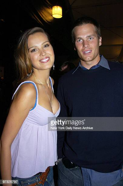 Supermodel Petra Nemcova and New England Patriots' quarterback Tom Brady get together backstage at the Tent in Bryant Park during a Fashion Week...
