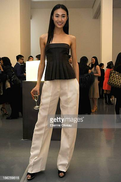 Supermodel Qin Shu Pei poses for pictures during the Calvin Klein special dinner at the Long March Space in 798 Art District on November 12 2012 in...