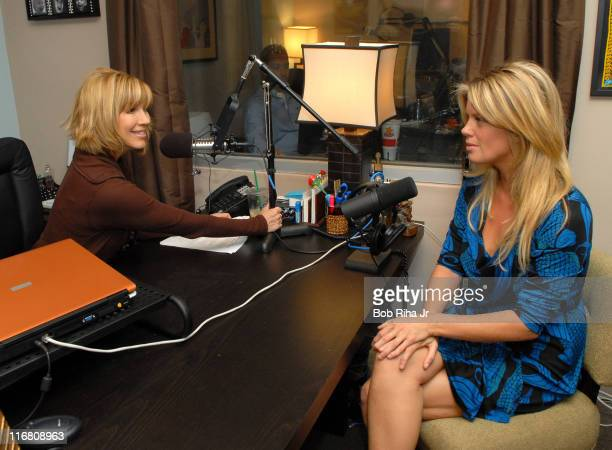 Supermodel Rachel Hunter talks with Leeza Gibbons on October 23 2007 during Gibbons' nationally syndicated radio show Hollywood Confidential about...