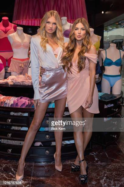 Supermodel Romee Strijd and Victoria's Secret Bra Fit Experts celebrate the all new 'Body By Victoria' collection at Victoria's Secret Northpark on...
