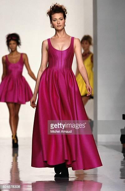 Supermodel Shalom Harlow Modeling DKNY Dress