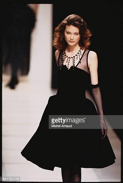 Supermodel Shalom Harlow Modeling Giorgio Armani Dress