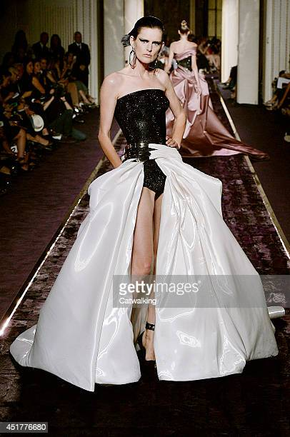 Supermodel Stella Tennant walks the runway at the Atelier Versace Autumn Winter 2014 fashion show during Paris Haute Couture Fashion Week on July 6...