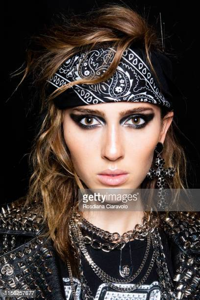 Supermodel Teddy Quinlivan at the Philipp Plein backstage during the Milan Men's Fashion Week Spring/Summer 2020 on June 15 2019 in Milan Italy