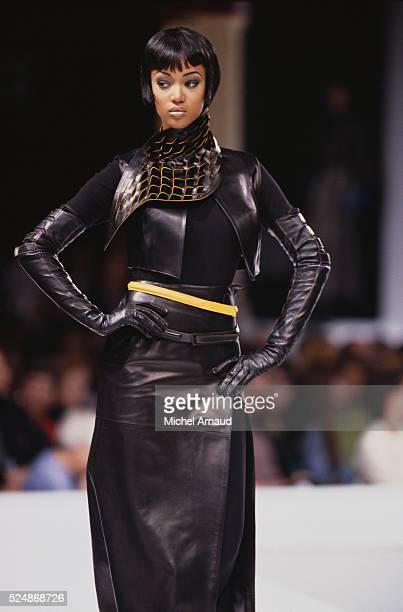 Supermodel Tyra Banks Modeling Claude Montana Dress