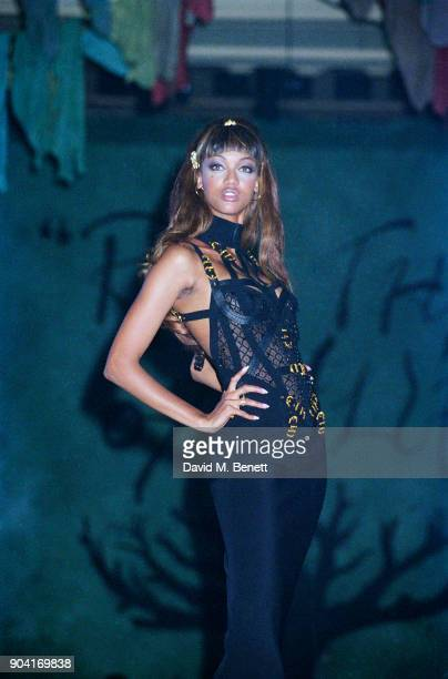Supermodel Tyra Banks wearing Versace at The Rhythm of Life Fashion Ball in aid of the Rainforest Foundation at the Grosvenor House Hotel on May 31,...