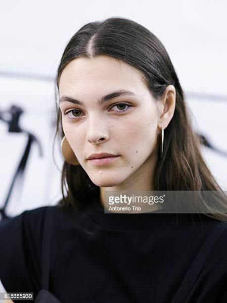 Supermodel Vittoria Ceretti poses prior the Isabel Marant show as part of the Paris Fashion Week Womenswear Spring/Summer 2017 on September 29 2016...