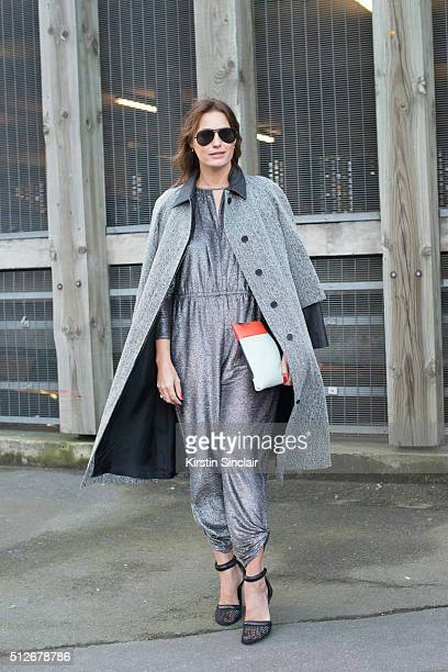 Supermodel Yasmin Le Bon wears Alexander Wang and a Chanel bag on day 4 during London Fashion Week Autumn/Winter 2016/17 on February 22 2016 in...