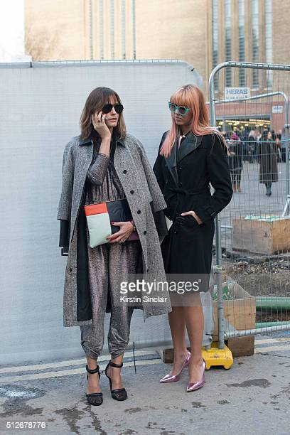 Supermodel Yasmin Le Bon wears Alexander Wang and a Chanel bag With model Amber Le Bon who wears a Burberry coat Karl Lagerfeld bag and Dior...