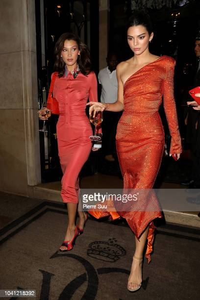 Supermodels Bella Hadid and Kendall Jenner leave a hotel on September 26 2018 in Paris France