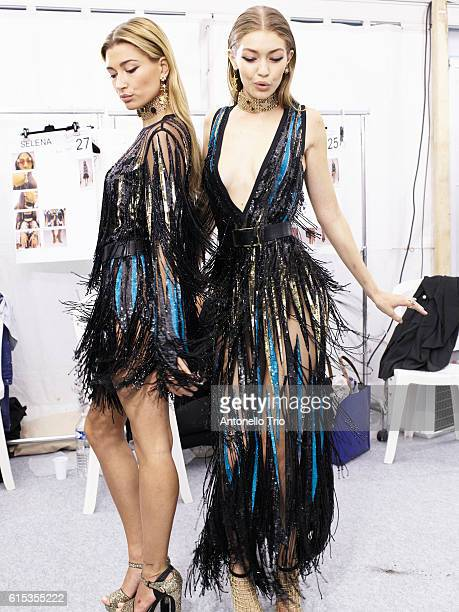 Supermodels Hailey Baldwin and Gigi Hadid poses prior the Elie Saab show as part of the Paris Fashion Week Womenswear Spring/Summer 2017 on October 1...