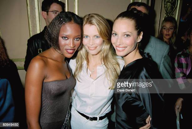 Supermodels Naomi Campbell Claudia Schiffer and Christy Turlington at the launch party for their Fashion Cafe venture London 26th September 1996
