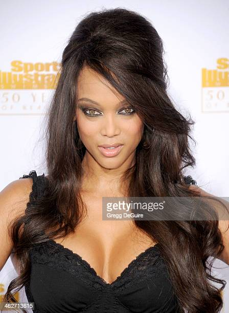 Supermodel/TV personality Tyra Banks arrives at the 50th Anniversary Celebration Of Sports Illustrated Swimsuit Issue at Dolby Theatre on January 14,...
