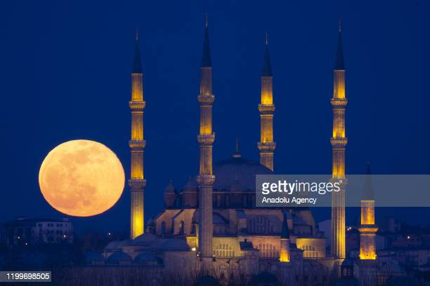 Supermoon is seen with Selimiye Mosque in Edirne, Turkey on February 9, 2020. Supermoon is a full moon that almost coincides with the closest...