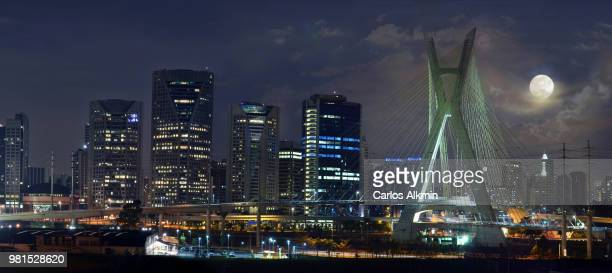 Supermoon of Aug 10, 2014 over Sao Paulo's modern skyline -