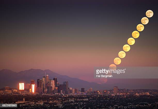 Supermoon Rise over Downtown Los Angeles