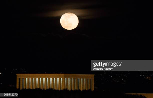 Supermoon rises over Anitkabir the mausoleum of founder of the Republic of Turkey Mustafa Kemal Ataturk in Ankara Turkey on April 8 2020 The...
