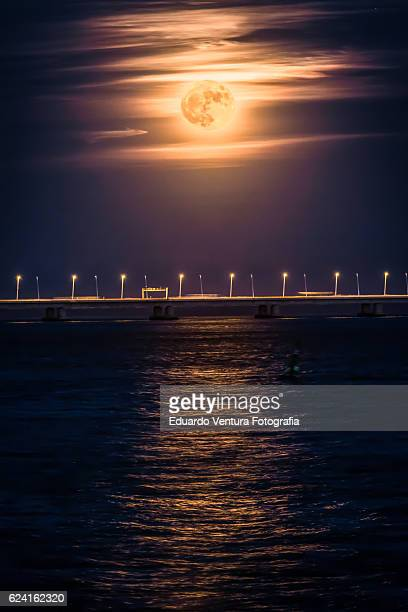 Supermoon rising over Lisbon