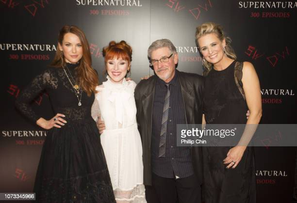 Supernatural Actors Danneel Ackles Ruth Connell Executive Producer Robert Singer and Actor Samantha Smith attend the red carpet at the SUPERNATURAL...