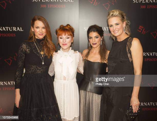 Supernatural Actors Danneel Ackles Ruth Connell Genevieve Padalecki and Samantha Smith attend the red carpet at the SUPERNATURAL 300TH Episode...