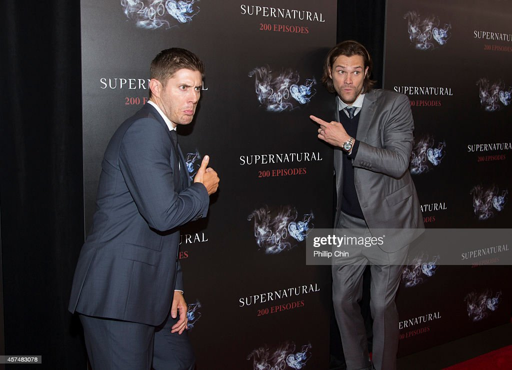 'Supernatural' actors Jensen Ackles and Jared Padalecki attend the 'Supernatural' 200th episode celebration at the Fairmont Pacific Rim Hotel on October 18, 2014 in Vancouver, Canada.