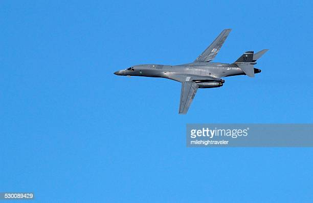 Supersonic bomber flies maneuvers over Abilene Texas copyspace