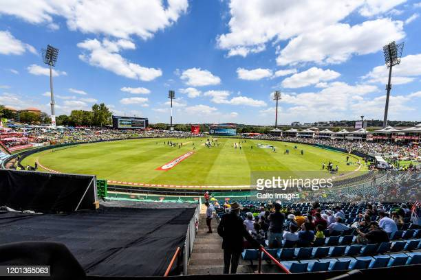 SuperSport Park during the 3rd KFC T20 International match between South Africa and England at SuperSport Park on February 16, 2020 in Pretoria,...