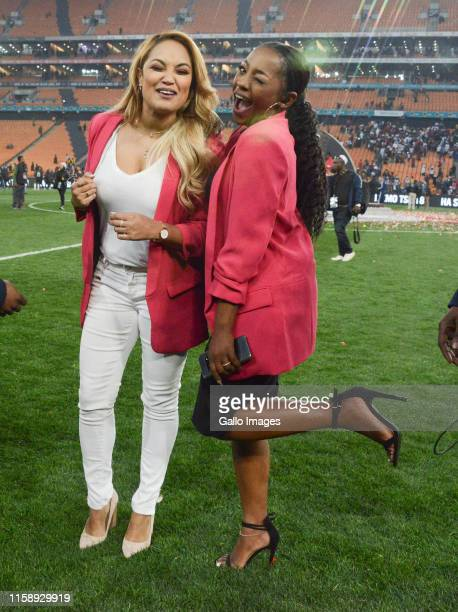 SuperSport TV presenters Julia Stuart and Thato Moeng during the Carling Black Label Cup match between Orlando Pirates and Kaizer Chiefs at FNB...