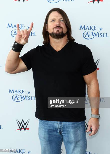 Superstar A.J. Styles attends the WWE Superstars Surprise Make-A-Wish Families at One World Observatory on August 19, 2017 in New York City.