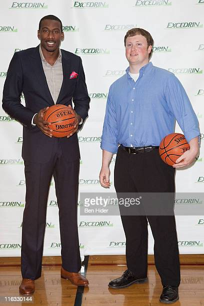 Superstar Amar'e Stoudemire and Walt Arnett of Lexington Ky Named Winner of National Contest Earns Customized Prize Package attend the Excedrin...