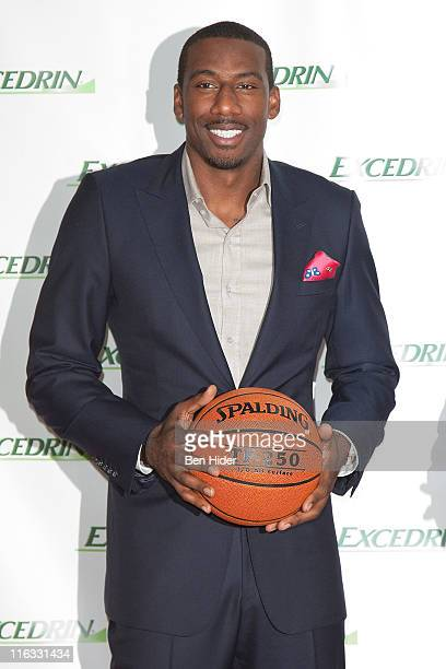Superstar Amar'e Stoudemire attends the Excedrin What's Your Headache Contest sports charity launch at Chelsea Piers Sports Center on June 15 2011 in...