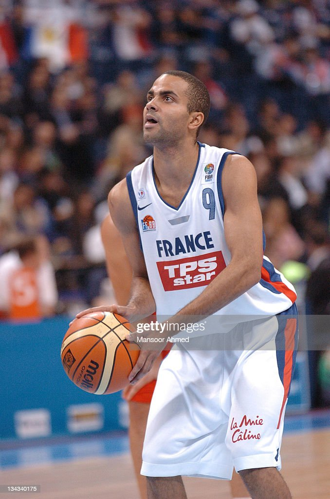 NBA superstar and French player Tony Parker prepares to shoot a free throw during the Bronze medal match of the European Basketball Championships against Spain at the Belgrade Arena, Belgrade, Serbia & Montenegro, 24th September 2005.
