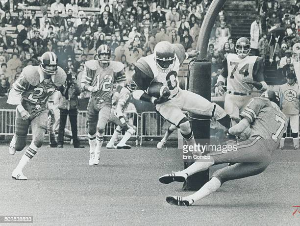 Superstar at work Montreal Alouettes' Johnny Rodgers gathers in pass for first touchdown of Canadian Football League game at CNE Stadium yesterday...