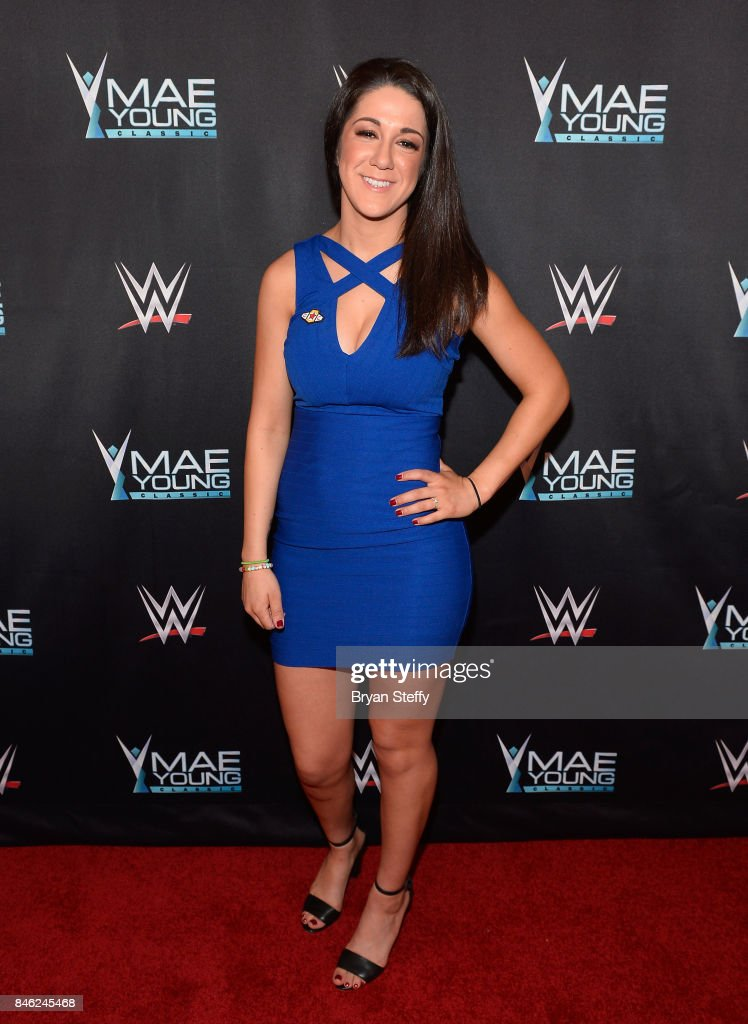 Superstar Bayley appears on the red carpet of the WWE Mae Young Classic on September 12, 2017 in Las Vegas, Nevada.