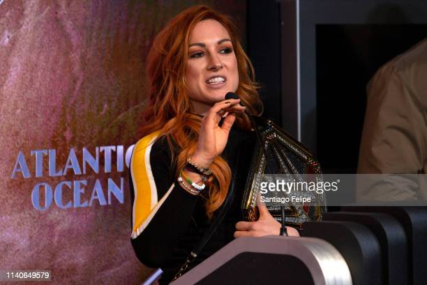 Superstar Becky Lynch Celebrate's Wrestlemania 35 at The Empire State Building on April 05 2019 in New York City