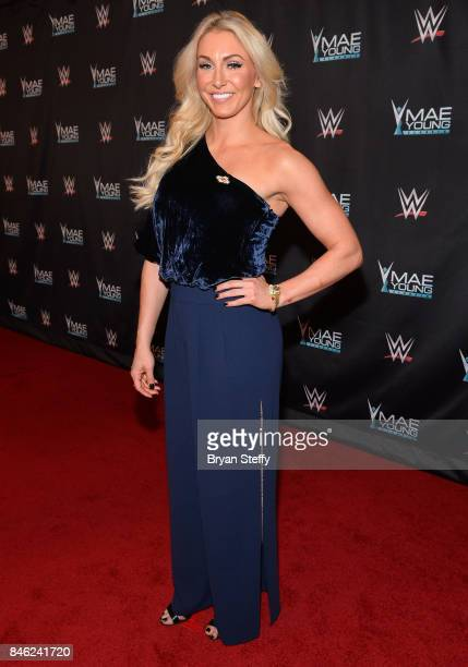 Superstar Charlotte Flair appears on the red carpet of the WWE Mae Young Classic on September 12 2017 in Las Vegas Nevada
