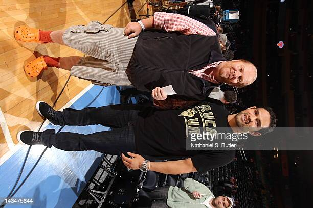 Superstar chef Mario Batali and quarterback Mark Sanchez of the New York Jets attend the game between the New York Knicks and the Los Angeles...
