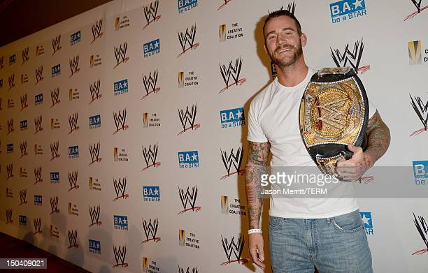 Superstar CM Punk attends the WWE SummerSlam VIP KickOff Party at Beverly Hills Hotel on August 16 2012 in Beverly Hills California