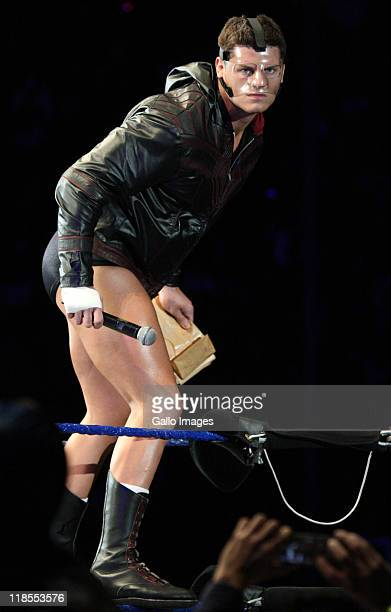 Superstar Cody Rhodes is introduced during the WWE Smackdown Live Tour at Westridge Park Tennis Stadium on July 08 2011 in Durban South Africa