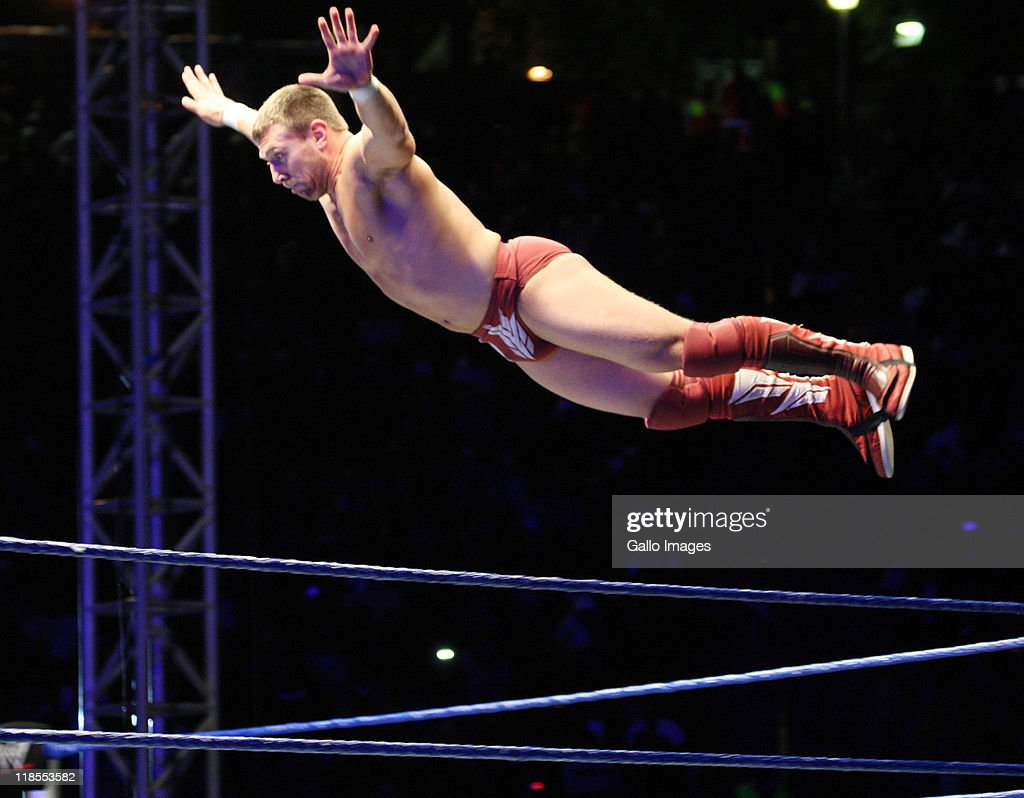 Superstar Daniel Bryan flys off the ropes during the WWE Smackdown Live Tour at Westridge Park Tennis Stadium on July 08, 2011 in Durban, South Africa.