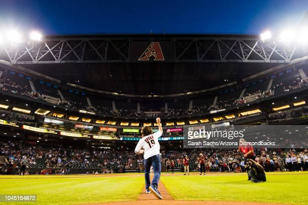 Superstar Daniel Bryan throws out the ceremonial first pitch prior to a game between the Los Angeles Dodgers and Arizona Diamondbacks at Chase Field...