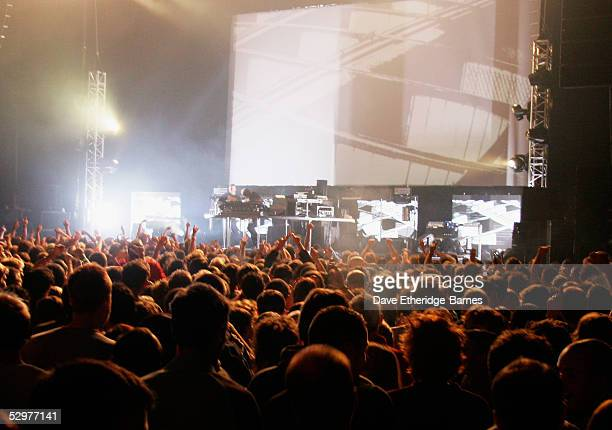 Superstar DJs The Chemical Brothers play the Brighton Centre on May 24 2005 in Brighton England The Brighton gig is the first date of the tour in the...