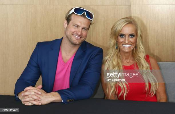Superstar Dolph Ziggler and Dana Warrior attend the WWE Superstars Surprise MakeAWish Families at One World Observatory on August 19 2017 in New York...