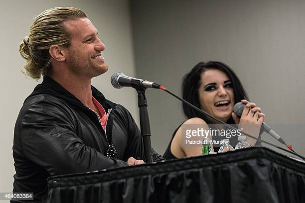 WWE Superstar Dolph Ziggler and WWE Diva Page attend Wizard World Comic Con at Cleveland Convention Center on February 21 2015 in Cleveland Ohio